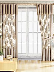 (Two Panels) Khaki Modern Print Sheer Curtain