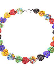 Heart-shaped Coloured Glaze Necklace