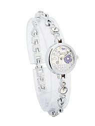 Women's Alloy Quartz Movement Glass Round Shape with Rhinestone Dress Watch