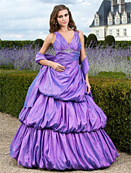 A-Line Ball Gown Princess V-neck Floor Length Taffeta Prom Quinceanera Dress with Beading by TS Couture®
