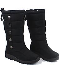 Женская Multi-Цвет PU резиновый Anti-Slip Водонепроницаемый потепление середины икры плоские ботинки снега (разных цветов)