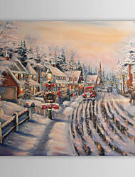 Christmas Painting Celebrating Streets Warm Houses Santa Claus Holiday Oil Painting on Canvas Ready to Hang