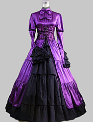 Long Sleeve Floor-length Purple Satin Cotton Classic Lolita Dress