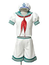 Inspirado por Projecto de Touhou Minamitsu Murasa Vídeo Jogo Cosplay Costumes Ternos de Cosplay Patchwork Branco Manga CurtaTop / Shorts