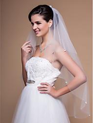 Elegant 2 Layers Fingertip Wedding Veil With Beaded Edge