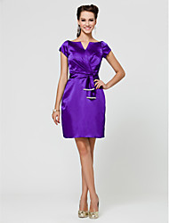 Bridesmaid Dress Knee Length Stretch Satin Sheath Column V Neck Dress