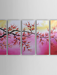 Hand-painted Floral Oil Painting with Stretched Frame - Set of 5