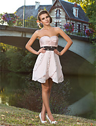 Cocktail Party / Prom / Sweet 16 Dress - Short Plus Size / Petite A-line / Princess Strapless / Sweetheart Short / Mini Satin Chiffon with