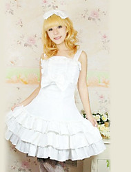 Sleeveless Knee-length White Cotton Ruffle Sweet Lolita Dress