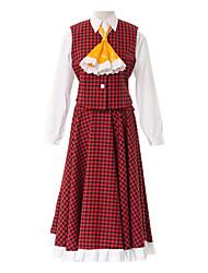 Inspirado por Projecto de Touhou Yuka Kazami Vídeo Jogo Cosplay Costumes Ternos de Cosplay / Uniformes Escolares Patchwork Vermelho