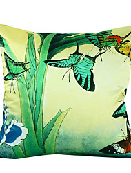 Country Butterfly Silk Decorative Pillow Cover