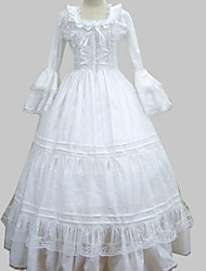 One-Piece/Dress Sweet Lolita Princess Cosplay Lolita Dress White Lace Long Sleeve Floor-length Dress For Women Cotton