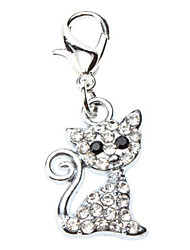 Cat Dog Tag Rhinestone Cartoon Silver Alloy