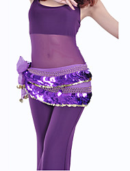 Dancewear Chiffon With 220 Copper Coins/Paillettes Belly Dance Hip Scarf for Ladies More Colors