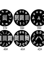 1st 2D Metal Flowers Nail Art Plate Bildstämpel (blandade färger, No.37-42)