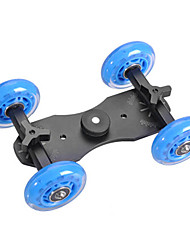 4 Wheel Desktop DSLR Camera Movie Photograph Rail Track Slider Table Dolly Car (Blue)