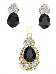 Z&X®  women's Black Love Heart Onyx Fully-Jewelled Jewelry Set(Earring and Pendant)