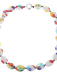 Многоцветный Овальном Цветная глазурь ожерелье