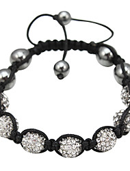 7 monochromatique perles bracelet corde tissé (couleurs assorties)