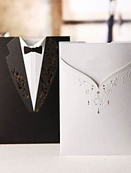 Sample Classic Gown & Tux On Different Side Wedding Invitation (One Set)
