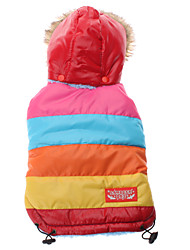 Dog Hoodie Red Winter Stripe