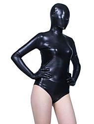 Black Shiny Metallic Leotard Spandex Zentai Half Suit