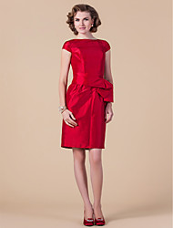Sheath/Column Plus Sizes / Petite Mother of the Bride Dress - Ruby Knee-length Short Sleeve Taffeta
