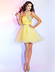 A-Line Ball Gown Princess Strapless Short / Mini Chiffon Tulle Cocktail Party Homecoming Prom Sweet 16 Dress withBeading Crystal