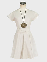 Inspired by MAGI Morgiana Anime Cosplay Costumes Cosplay Suits / Dresses Solid White Short Sleeve Dress / Belt