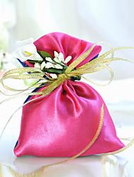 Fuchsia Satin Favor Bag Mit Ribbon (Set of 6)