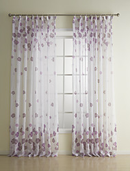 AnTi™ (One Panel)Country Floral Purple Sheer Curtain