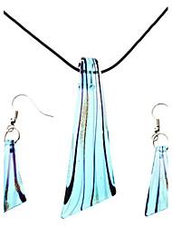 women's Blade-Shaped Coloured Glaze Necklace Earring Jewelry Set