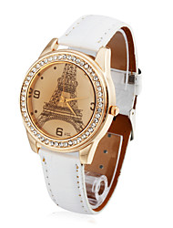 Women's Leather Quartz Movement Glass Round Shape Dress Watch(More Colors)