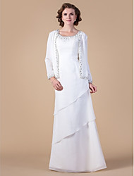 Sheath/Column Plus Sizes Mother of the Bride Dress - Ivory Floor-length Long Sleeve Chiffon
