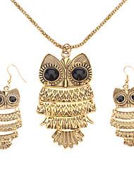 Women's Vintage Owl Bronze Jewelry Set(Necklace & earrings)