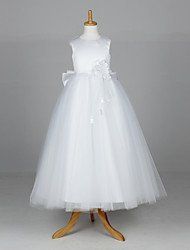 A-line / Ball Gown / Princess Ankle-length Flower Girl Dress - Satin / Tulle Sleeveless with Flower(s)