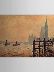 Hand-painted Oil Painting The Thames below Westminster by Claude Monet with Stretched Frame