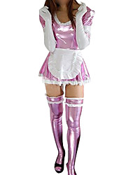 Pink Shiny Metallic Cotton Spandex Sexy French Maid Dress