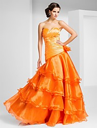 Prom / Formal Evening Dress - Orange Plus Sizes / Petite A-line / Princess Strapless / Sweetheart Floor-length Organza