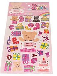 Colorful cadeau d'ours de bande Série stéréo Sticker Bubble
