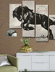Modern Style Horse Wall Clock in Canvas Set of 4