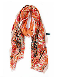 Turkey 50% Wool 50% Velvet Floral Patten Orange Scarf/Shawl