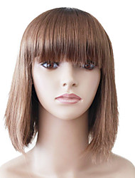 Capless Medium Brown Straight High Quality Synthetic Japanese Kanekalon Wigs