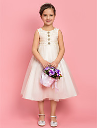 A-line/Princess Jewel Tea-length Tulle Flower Girl Dress