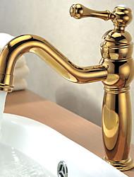 Solid Brass Einhand Zeitgenössische Ti-PVD-Finish Waschbecken Wasserhahn