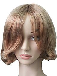 Capless 100% Human Hair Golden Blonde Short Wavy Hair Wig