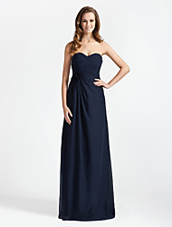Lanting Floor-length Chiffon Bridesmaid Dress - Dark Navy Plus Sizes / Petite Sheath/Column Strapless / Sweetheart