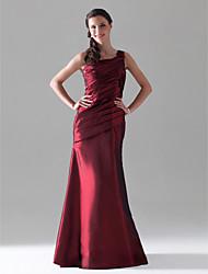 Floor-length Taffeta Bridesmaid Dress - Burgundy Plus Sizes / Petite A-line One Shoulder