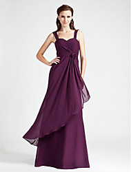 Lanting Bride Floor-length Chiffon Bridesmaid Dress A-line / Princess Sweetheart / Straps Plus Size / Petite withFlower(s) / Criss Cross