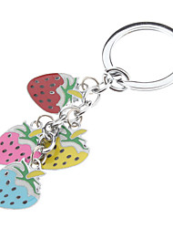 Colorful Strawberry Pattern Bell Key Ring Collar Charm